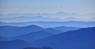 Mountains valley. Covered with fog Stock Images