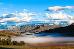 Mountains Valley Farm Mist Snow Royalty Free Stock Images