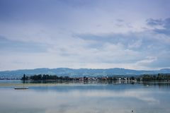 Mountains, valley, lake Constance and peaks landscape. Natural environment. Hiking in the alps. Arbon, Switzerland, Europe stock photography