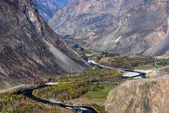 Mountains valley river autumn Stock Image