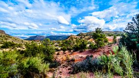 The mountains with varied vegetation in the red rock country at the Beaverhead Flats Road near the Village of Oak Creek. In Northern Arizona royalty free stock photography