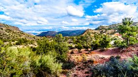 The mountains with varied vegetation in the red rock country at the Beaverhead Flats Road near the Village of Oak Creek. In Northern Arizona stock photography