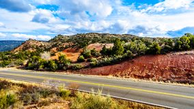 The mountains with varied vegetation in the red rock country at the Beaverhead Flats Road near the Village of Oak Creek. In Northern Arizona stock photos