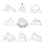 Mountains vector collection, hand drawn mountain. Mountains vector collection, hand drawn line mountain set with ribbon, tree and flag for design logo and more Royalty Free Stock Photos