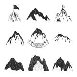 Mountains vector collection, hand drawn mountain. Set with ribbon, tree and flag for design logo and more. Mountains  on white background Stock Photo