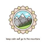 Mountains. Vector illustration. Vector illustration. Landscape with mountain peaks and trees Stock Photos