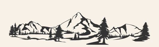 Mountains vector.Mountain range silhouette isolated. Mountain vector illustration. Mountains vector.Mountain range silhouette isolated vector illustration stock illustration