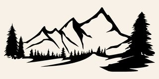 Free Mountains Vector.Mountain Range Silhouette Isolated Vector Illustration Royalty Free Stock Photography - 130809377