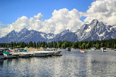 Mountains View By The Jackson Lake In Colter Bay Village Royalty Free Stock Image