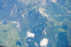 Mountains  view from  flying airplane Royalty Free Stock Photography