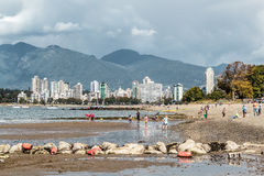 Mountains view from Kitsilano Beach in Vancouver, Canada royalty free stock photography