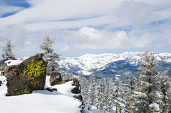 Mountains View from the peak at lake Tahoe in wint. Beautiful view of the  mountain range from the top of the mountain at lake Tahoe Royalty Free Stock Photos