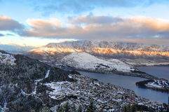 Mountains and view of Queenstown city Royalty Free Stock Images