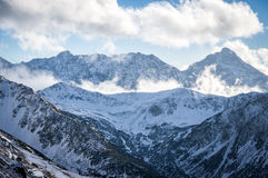 Mountains view in sunlight with clouds Royalty Free Stock Photography