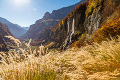 Mountains view with waterfalls and cliffs Royalty Free Stock Image