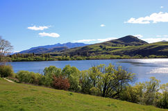 Mountains views over Lake Hayes. The Lake Hayes mountain view in New Zealand Royalty Free Stock Image