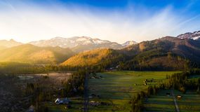 Mountains and a village Royalty Free Stock Photo