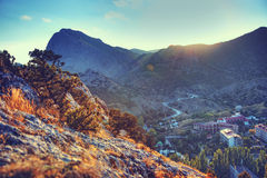The mountains and the village at sunset. Crimea landscape. Natur Stock Photos