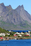 Mountains and villages of  Lofoten Stock Images