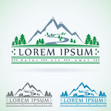 Mountains vintage vector logo design template, green tourism icon.  Stock Images