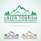 Mountains vintage vector logo design template, green tourism icon.  Royalty Free Stock Photos