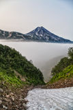 Mountains and volcanoes. Beautiful landscape of Kamchatka Penins Stock Photos