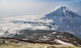 Mountains and volcanoes. Beautiful landscape of Kamchatka Penins Royalty Free Stock Images