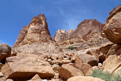 Mountains of Wadi Rum Desert also known as The Valley of the Moon, southern Jordan Royalty Free Stock Photography