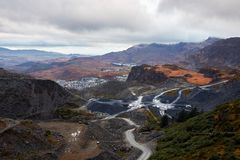 Mountains in Wales. View on slate mines in Wales. United Kingdom Royalty Free Stock Photos