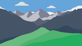 Mountains wallpaper. Background mountains landscape - flat design sky clouds grass nature forest valley green cliffs woods royalty free illustration