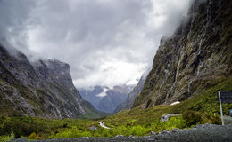 Mountains and Waterfalls on Milford Sound Hwy Stock Images