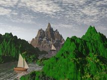 Mountains waterfront - 3d render Stock Photography