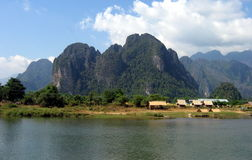 Mountains and waters. The nature of Vang Vieng, Laos. The Mekong river flows by royalty free stock photography