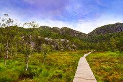 Mountains on the way to the Cliff Preikestolen in fjord Lysefjor Stock Photo