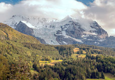 Mountains of Wengen. Mountains with snow in the swiss Alps of Wengen, in a valley on a cloudy day Royalty Free Stock Photos