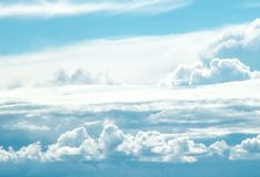 Mountains of white and blue clouds Royalty Free Stock Photo