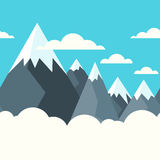 Mountains in white clouds, vector seamless horizontal background. Blue sky with clouds. Stock Photography