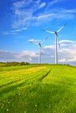 Mountain wind turbine. Mountains wind turbine during day Stock Image