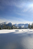 Mountains in winter. Panoramic view on tatra mountains covered by snow Royalty Free Stock Photos