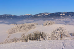 Mountains in winter. Overall view of the snowy mountains Royalty Free Stock Photo