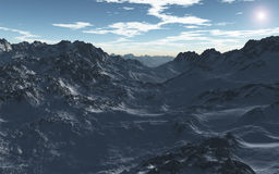 Mountains in Winter. This image shows mountains in winter at evening royalty free illustration