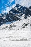 In the mountains, winter landscape. Photography in the mountains in winter. Beautiful blue sky and mountains in the snow Royalty Free Stock Photography