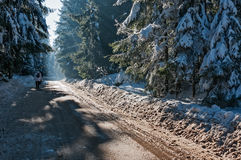 In the mountains, winter landscape. Photography in the mountains in winter. Beautiful blue sky and mountains in the snow. The road, which roam the people Stock Photo