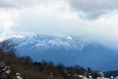 The mountains in winter. Mountain landscape overcast winter day Stock Photography