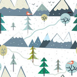 Mountains at winter season seamless pattern - funny design Royalty Free Stock Image