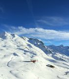Mountains. Winter skiing time and travel in Alps stock photo