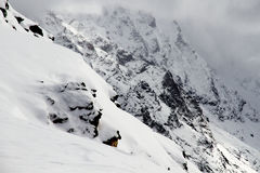 Mountains winter snow. Mountain landscape: rocks covered by snow by a winter in Caucasus region Stock Image