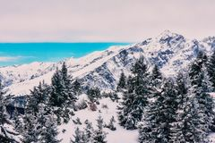 mountains in winter snow sunset or sunrise royalty free stock photo