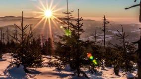 Mountains Winter Sunrise Timelapse 4k stock video