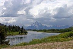 Mountains in Wyoming. Grand Teton mountain range near Oxbow Bend Royalty Free Stock Photo